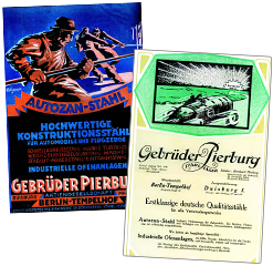 Early advertisements of the Pierburg brothers