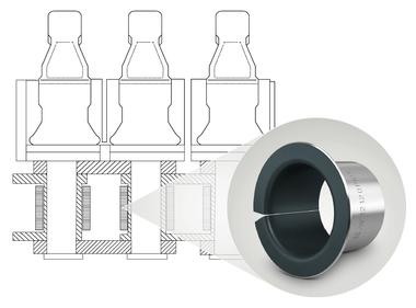 Lagerung der Kluppen mit KS PERMAGLIDE® P10 Gleitlager-Bundbuchsen