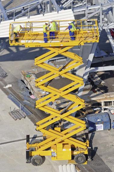Work platform with scissor joints