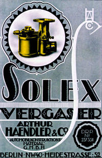 Old advertisement Solex carburettors